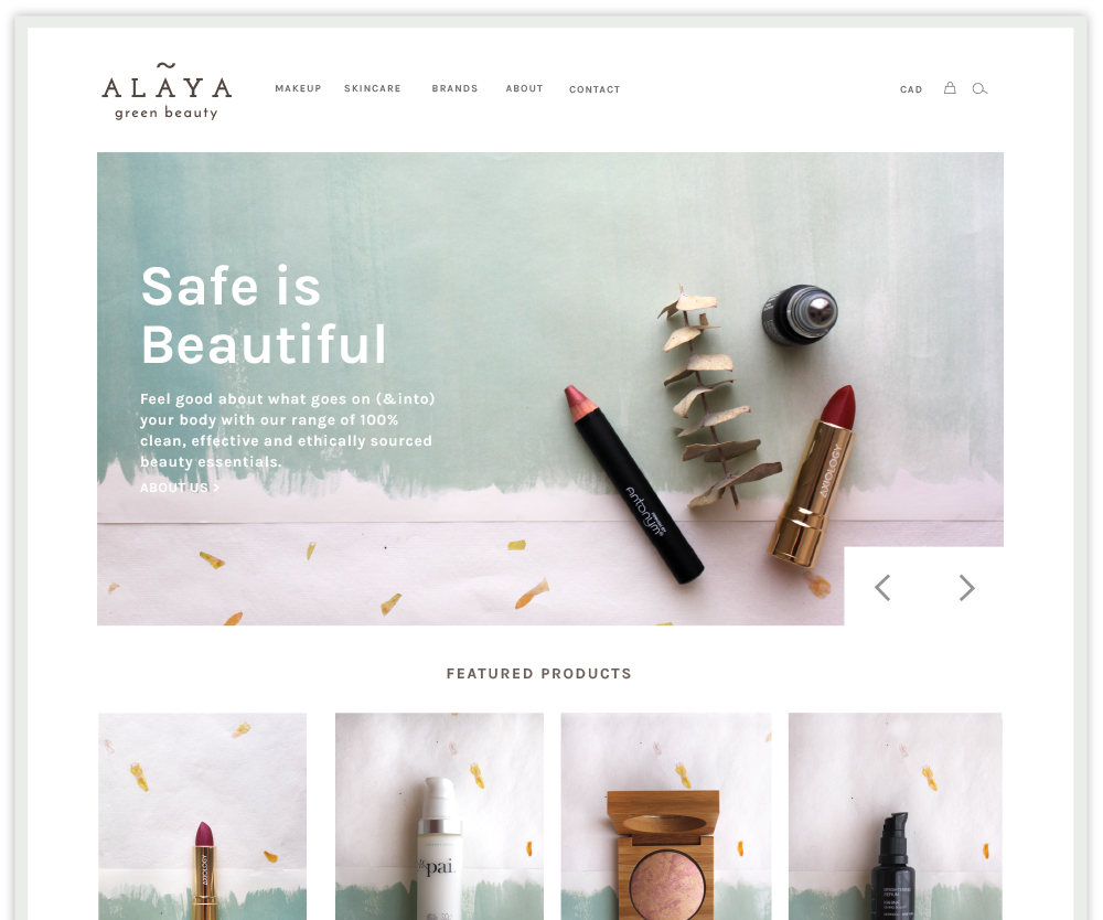 Alaya green beauty website